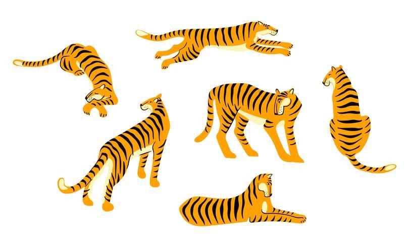 Vestor Set niedliche Tiger. Trendige Darstellung.