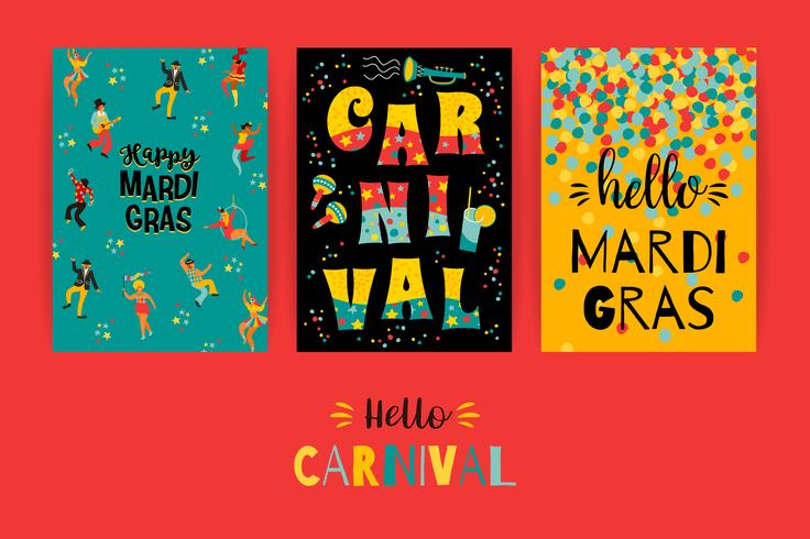 Hello carnival . Vector templates for Mardi Gras concept and other users