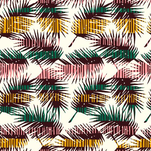 Abstract seamless pattern with tropical leaves. Vector template.