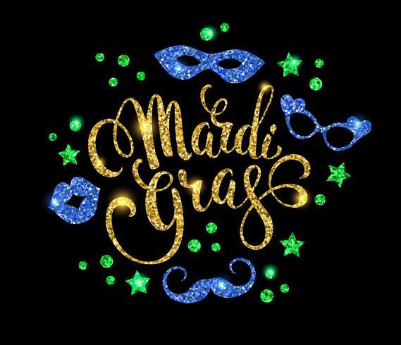 Mardi Gras. Glittering lettering design for Banners, Flyers, Pla vector