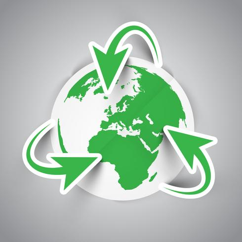 Recycling Earth symbol vector