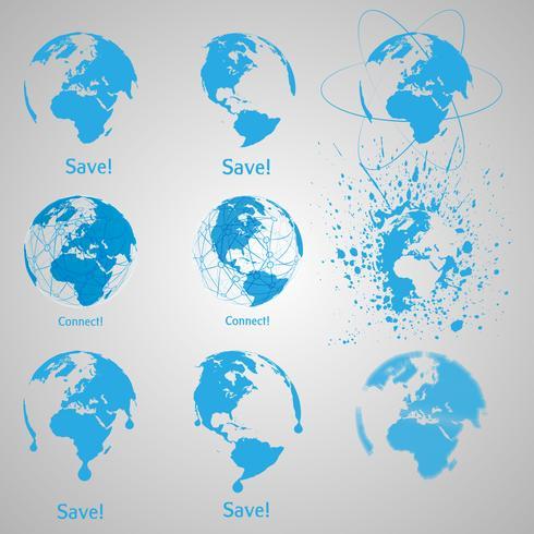 Un conjunto de tierra azul vector