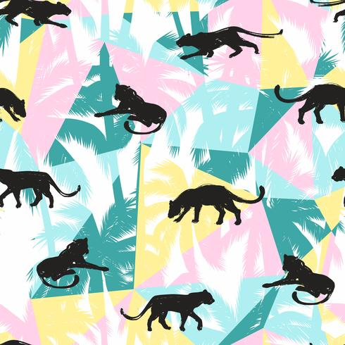 Seamless pattern with abstract leopards. vector