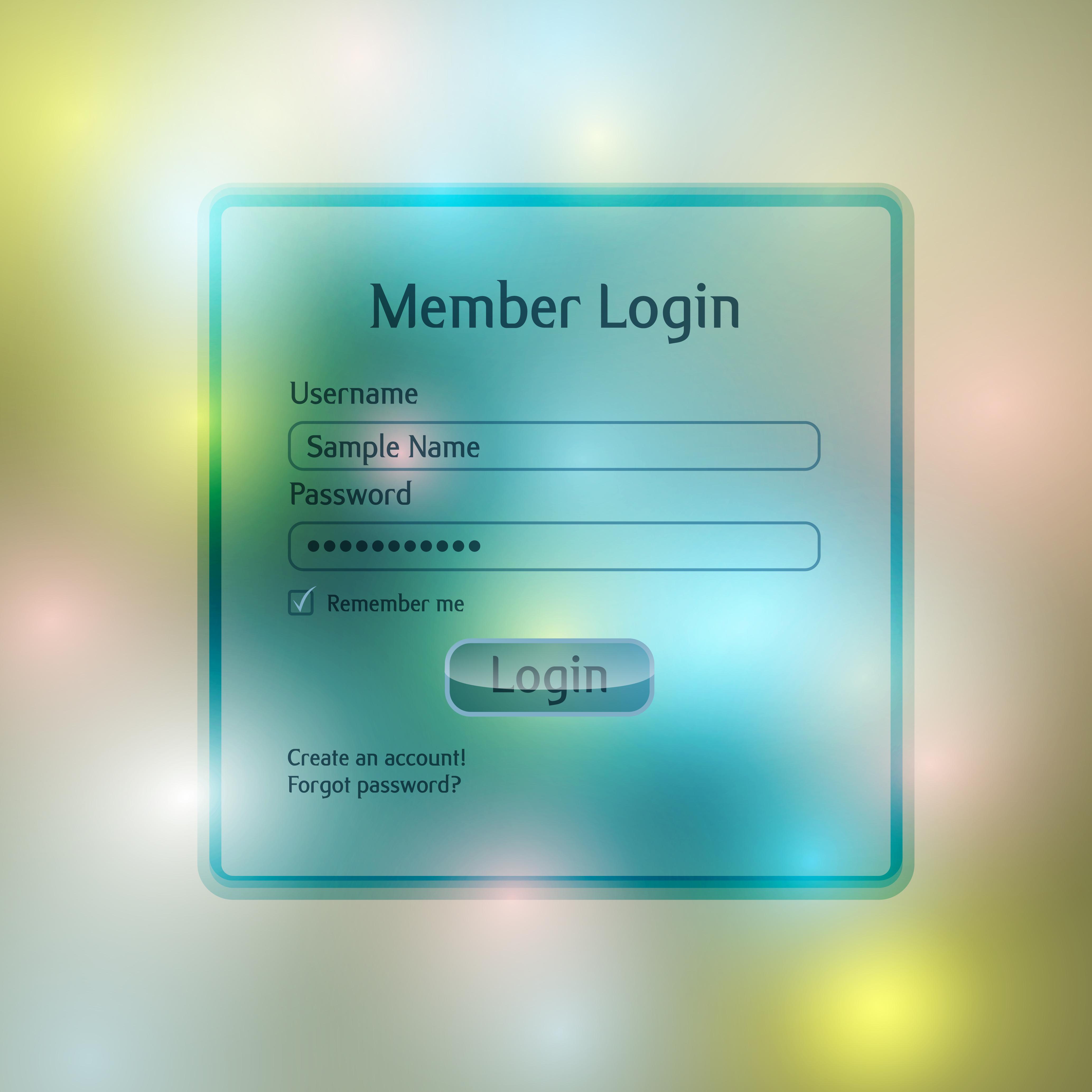 Member Login vector template - Download Free Vectors