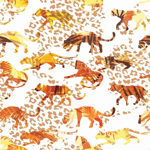 Seamless exotic pattern with abstract silhouettes of animals. vector