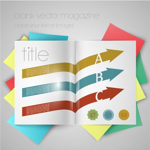 Vektorzeitschriftschablone mit Pfeilen und Aufklebern
