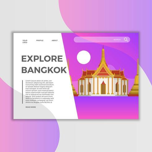 Modelo de vetor plana Landing Landmark de Bangkok