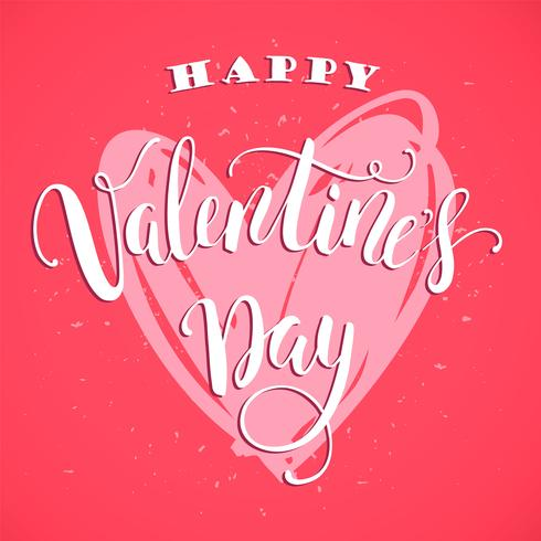 Happy Valentines Day. Hand drawn lettering design. vector