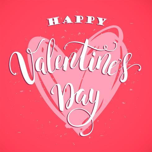 Fijne Valentijnsdag. Hand getrokken belettering van ontwerp.
