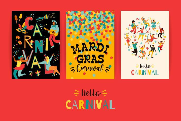 Olá carnaval. Modelos de vetor para o conceito de Mardi Gras e outros usuários
