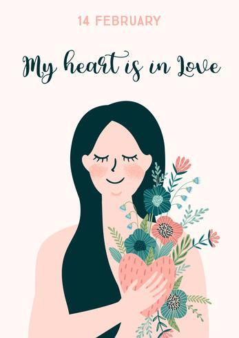 Romantische illustratie met vrouw. Vector ontwerpconcept voor Valentijnsdag en andere gebruikers.