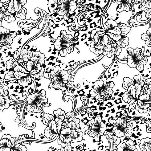 Eklektiskt tyg sömlöst mönster. Djur bakgrund med barock prydnad.
