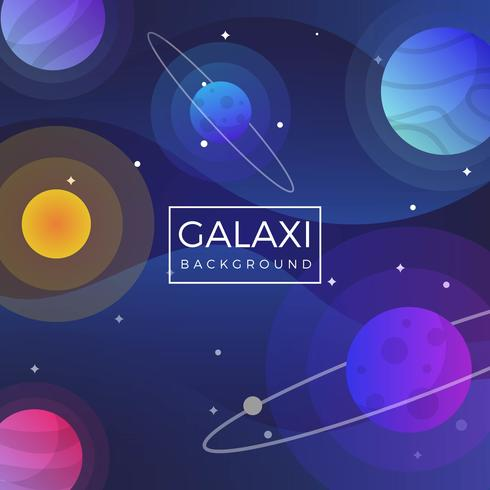 Flat Galaxy Universe Vector Background