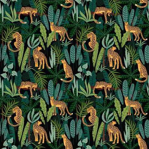 Vestor seamless pattern with leopards and tropical leaves. vector