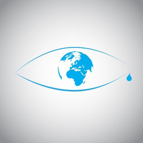 Global uppvärmning i en ögonsymbol