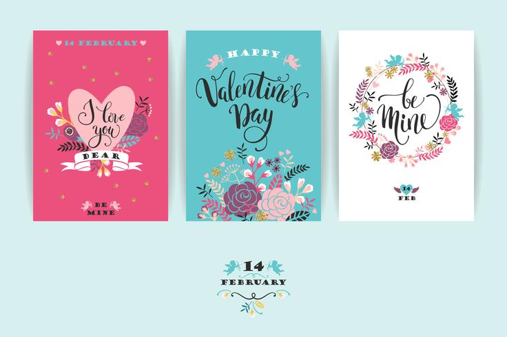 Conjunto de tarjetas de feliz día de San Valentín.