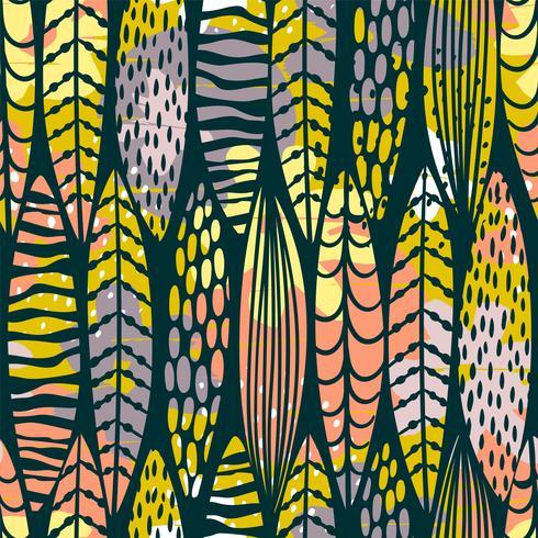 Modelo inconsútil tribal con las hojas abstractas.
