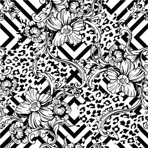 Nahtloses Muster des vielseitigen Gewebes. Tierischer und geometrischer Hintergrund mit barocker Verzierung