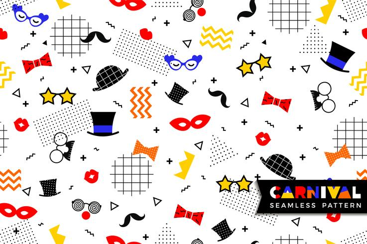 Carnival seamless pattern in Memphis style vector