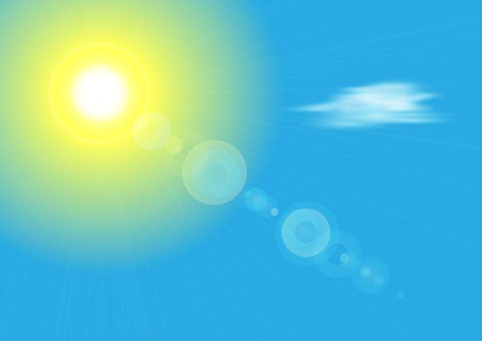 Zonneschijn met zon en blauwe hemel, vectorillustratie