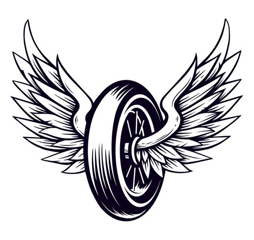 Vector motorfiets wiel met vleugels