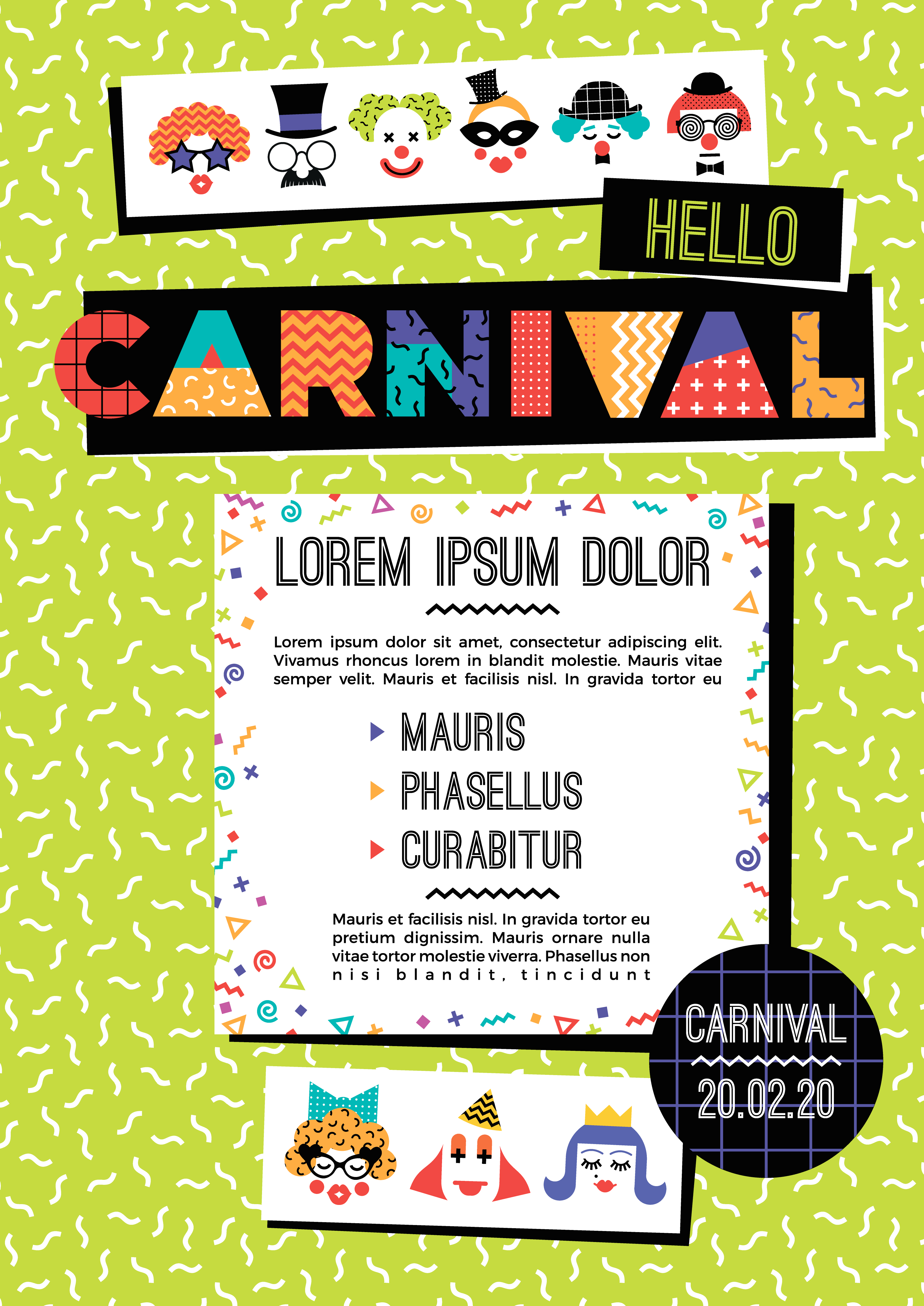 Carnival template in Memphis style - Download Free Vectors ...