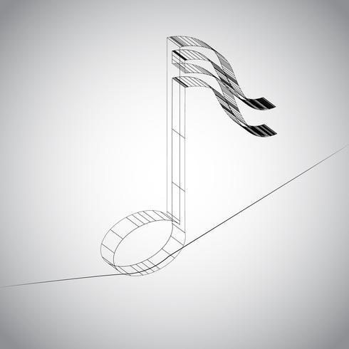 Nota 3D em um fio