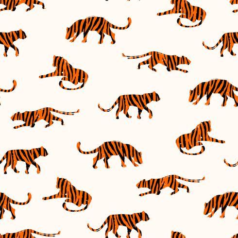 Sem costura padrão exótico com silhuetas abstratas de tigres.