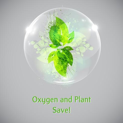 Planta y hojas en una burbuja. vector