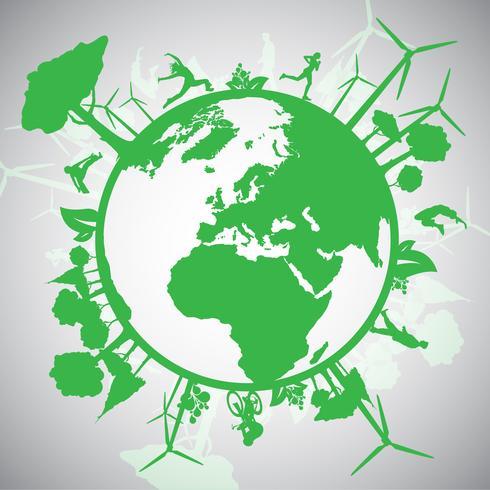 Mundo ecologico verde vector