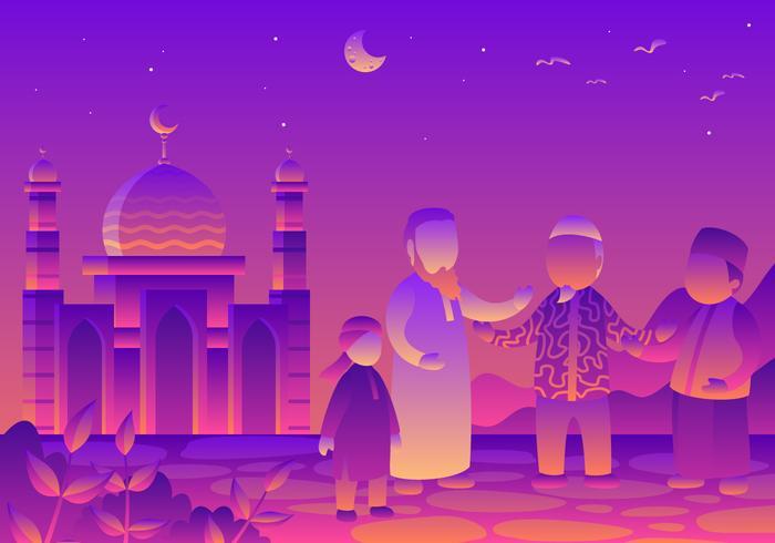 Comunidades multiculturales islámicas ilustración vectorial
