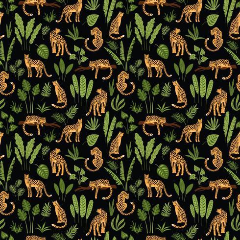Modèle sans couture Vestor avec des feuilles de léopards et tropicales.