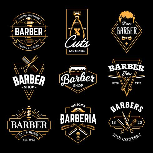 Barbería Vector emblemas retro