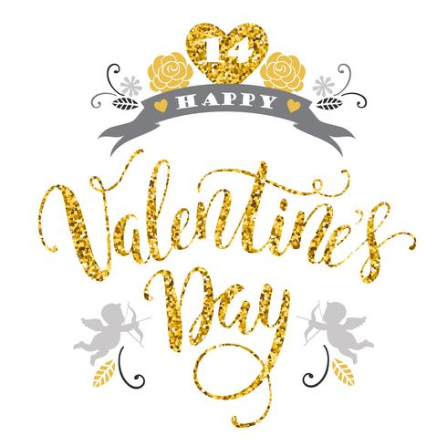 Feliz día de San Valentín. Dibujado a mano diseño de letras con textura brillo.