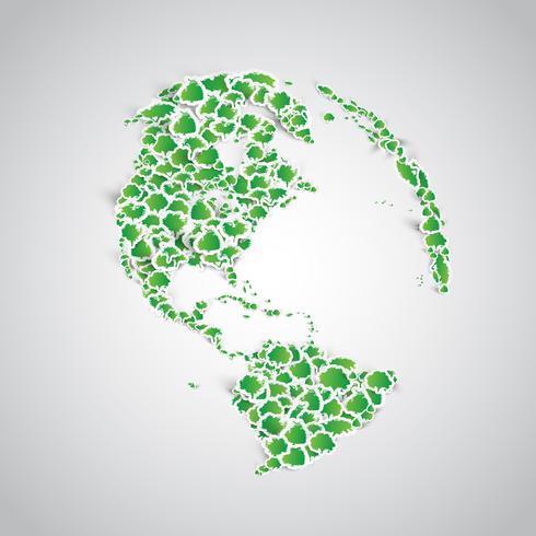 Terra feita de um monte de árvores de etiqueta vetor