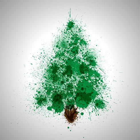 Árvore de vetor de Natal feita por salpicos de tinta derramada