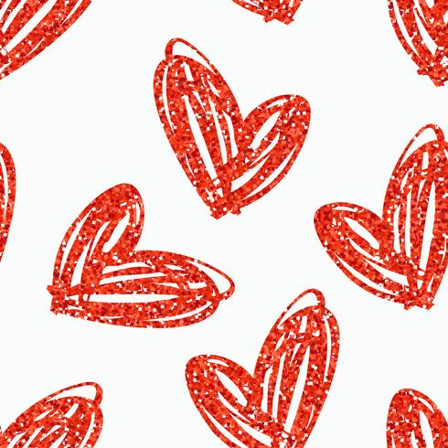 Patrón transparente de vector con mano dibujado corazones brillo.