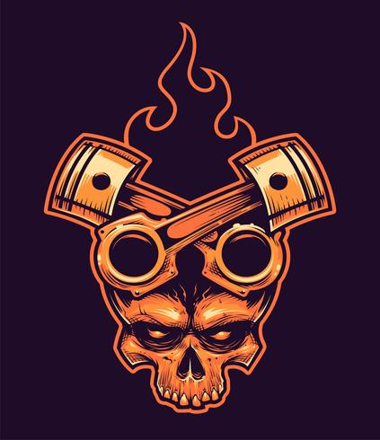 ef33c503f7db5 Vector Skull with Crossed Pistons and Fire - Download Free Vector ...