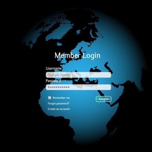 Interfaccia di login in una sfera colorata