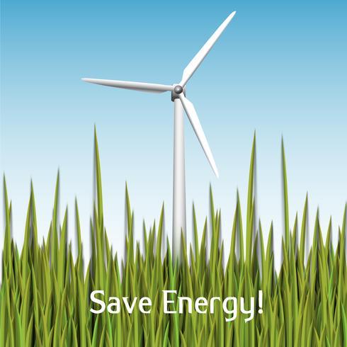 ¡Ahorra energía! Ilustración de vector con turbina eólica y hierba
