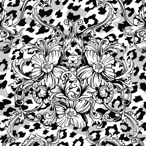 Eclectic fabric seamless pattern. Animal background with baroque ornament. vector