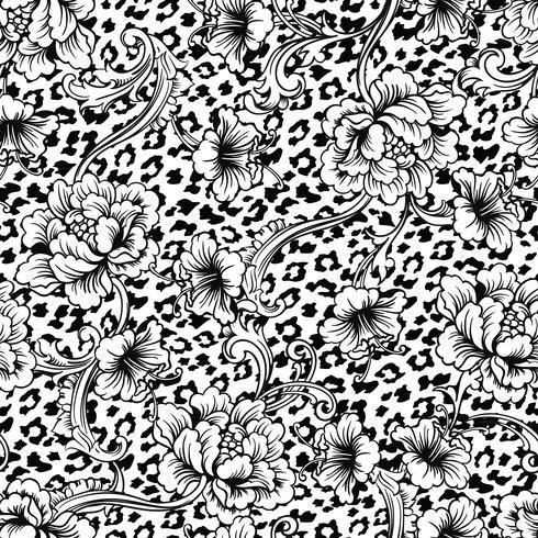 Eclectisch stoffen naadloos patroon. Dierlijke achtergrond met barok ornament. vector