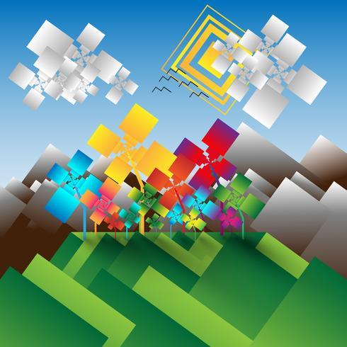 Fondo de vector de paisaje abstracto