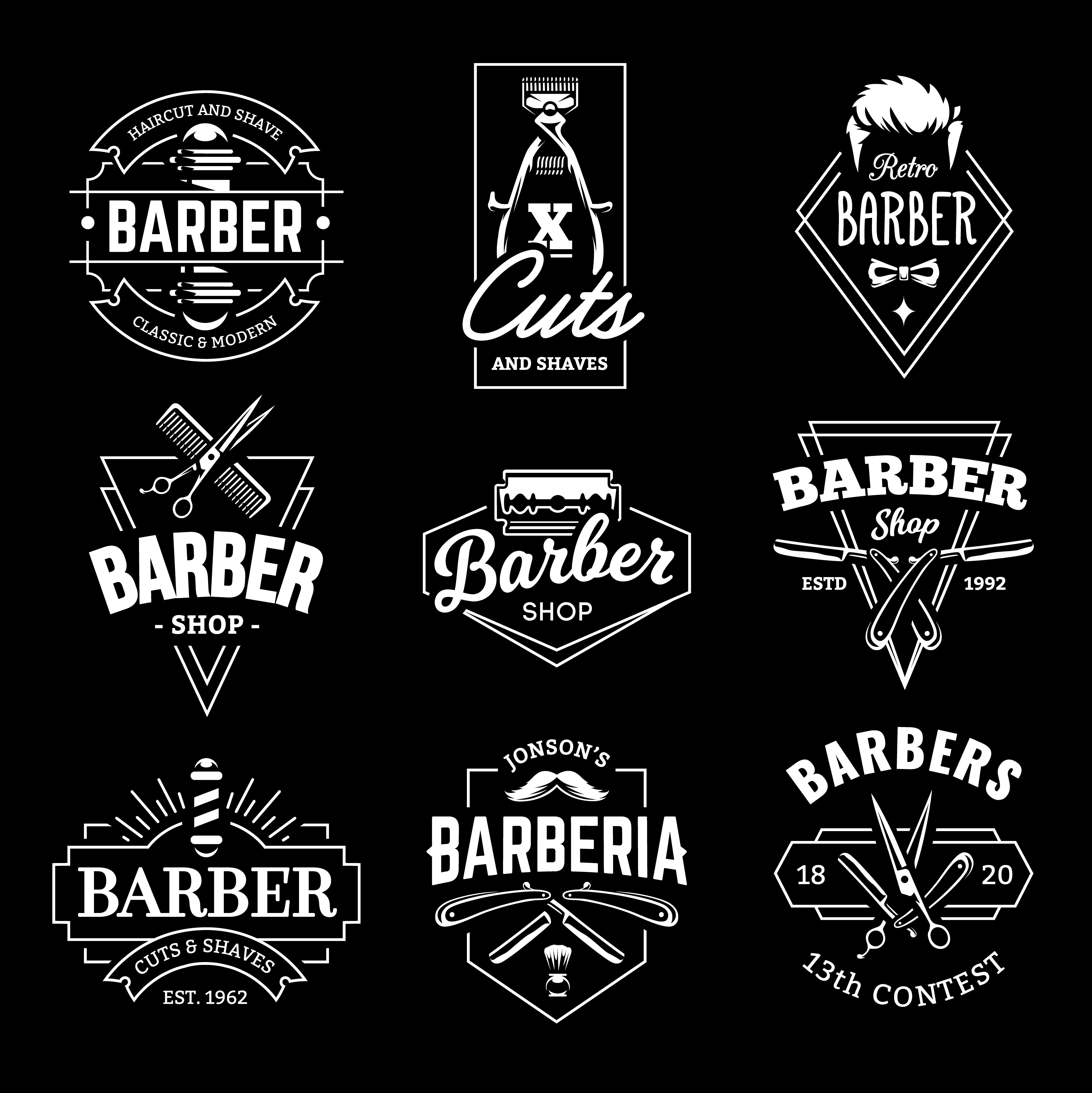 Barber Shop Vector Retro Emblems Download Free Vectors