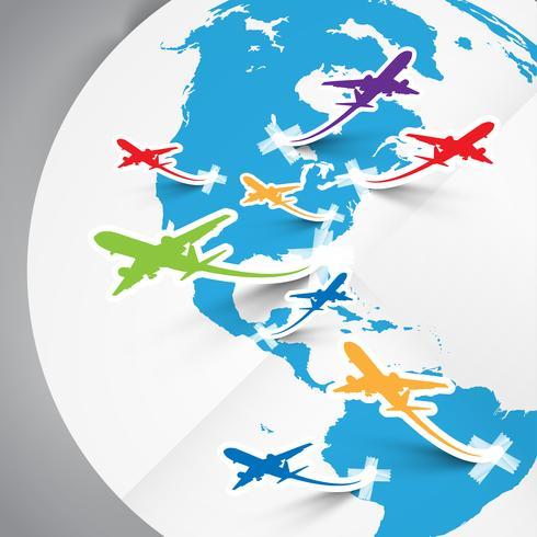 Aviones vectoriales de papel y tierra