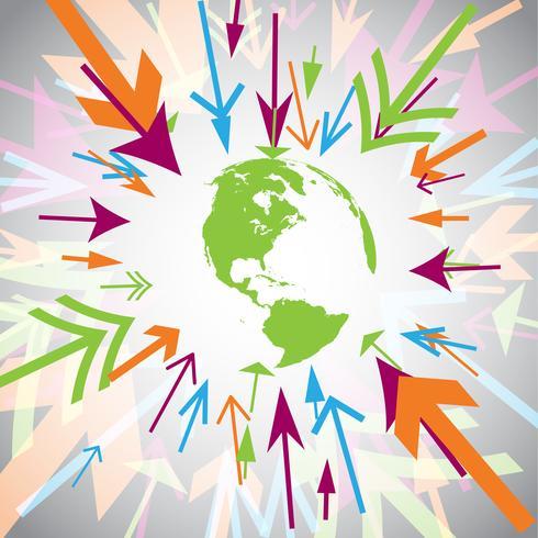 Terra com setas coloridas vetor