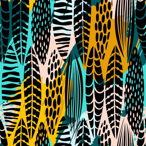 Tribal seamless pattern with abstract leaves. Hand draw texture. vector