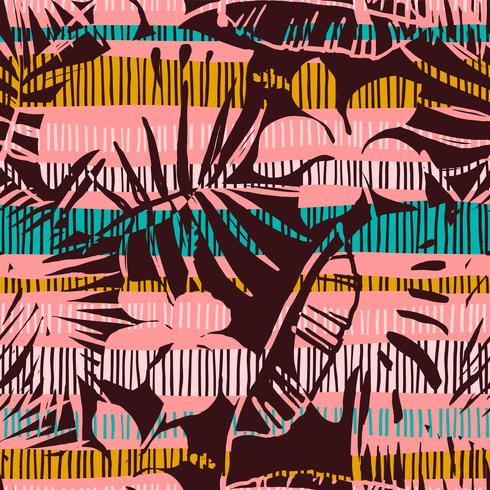 Abstrait modèle sans couture avec des feuilles tropicales. Main dessiner la texture. vecteur