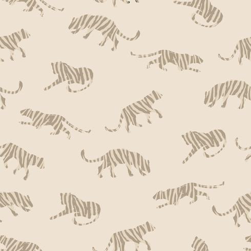 Naadloos exotisch patroon met abstracte silhouetten van tijgers.