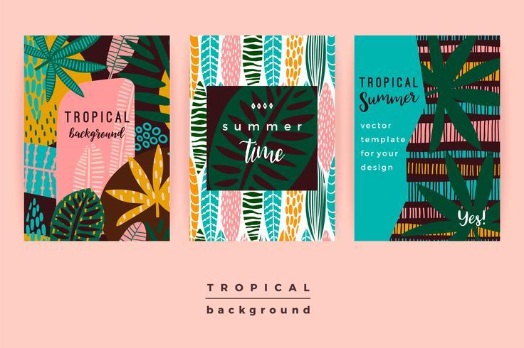 Conjunto de modelos criativos abstratos com folhas tropicais. vetor